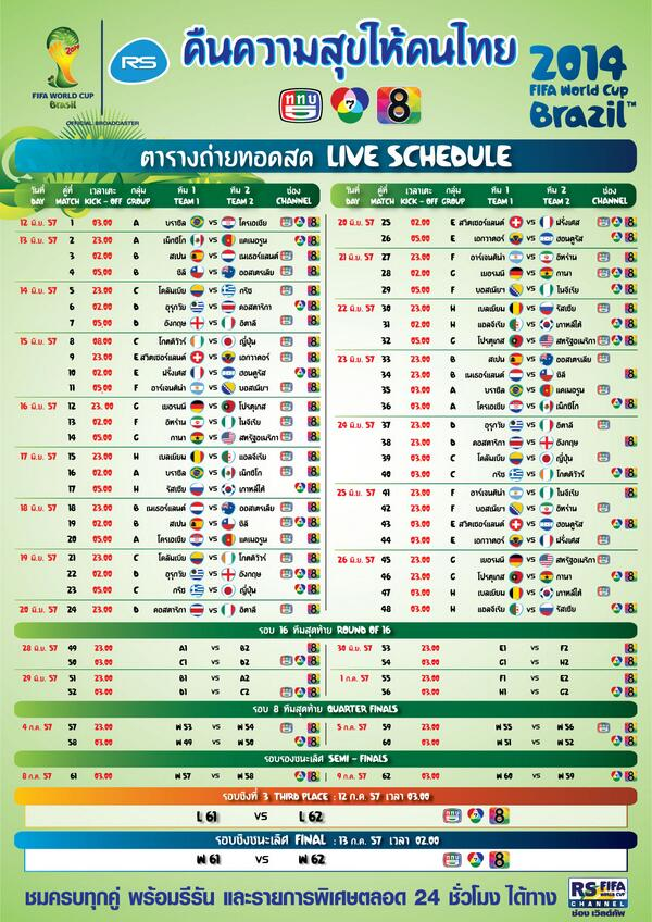 ブラジルで開催のサッカーワールドカップをタイのテレビでも観戦できますか?