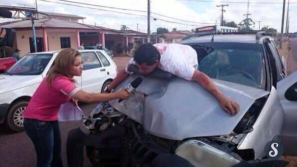 これがタイの記者魂だ!交通事故の直後に突撃インタビュー