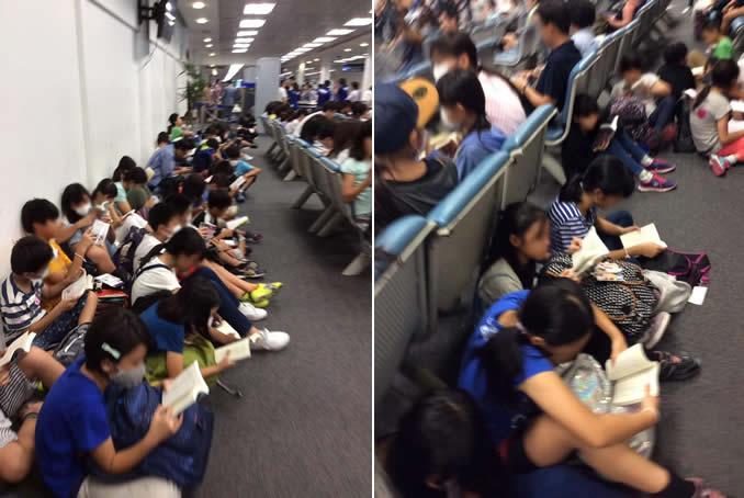 チェンマイ空港での日本の小学生たちの読書姿にタイ人驚愕