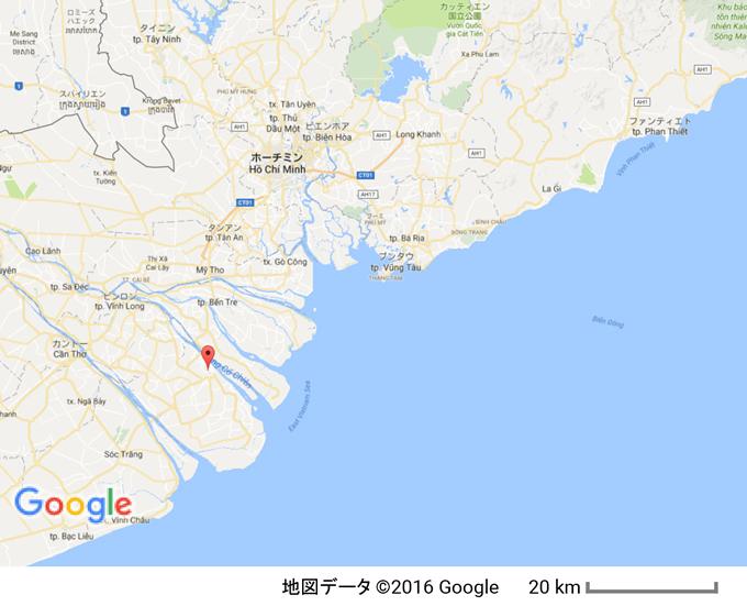 ベトナム・タップガイの位置 ホーチミンから車で約4時間