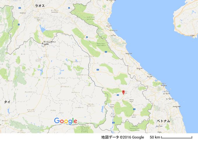 ラオス・ドンニャイ村の位置 ラオス第2の都市パクセーから車で約2時間