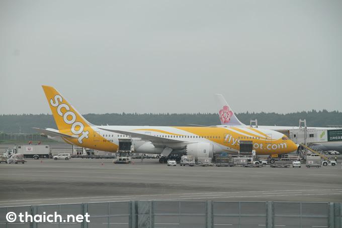 成田空港に到着したスクート機
