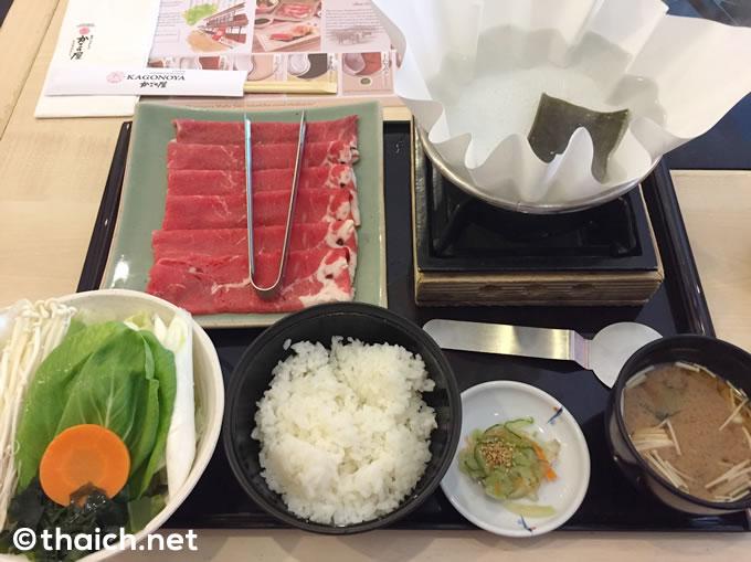 「牛しゃぶしゃぶ定食」(390バーツ)