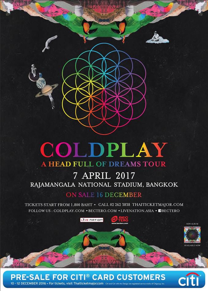 コールドプレイ タイ・バンコク公演「COLDPLAY A HEAD FULL OF DREAMS TOUR」開催