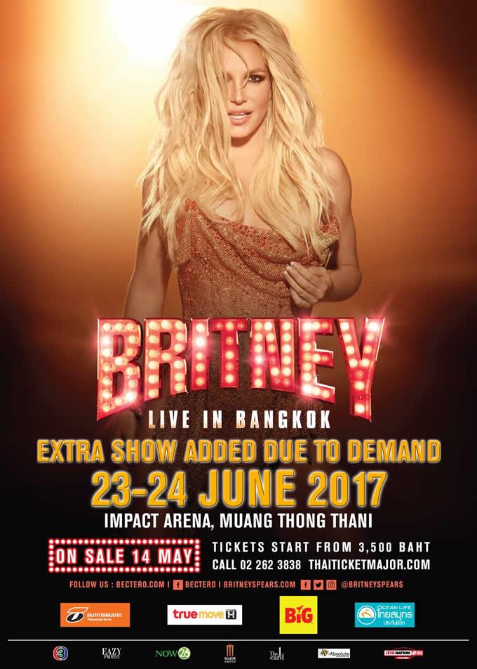 ブリトニー・スピアーズ バンコクでの追加公演決定「BRITNEY SPEARS LIVE IN BANGKOK 2017」