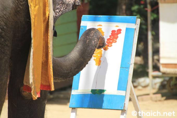 サムットプラカーン・クロコダイルファームの象さん画伯