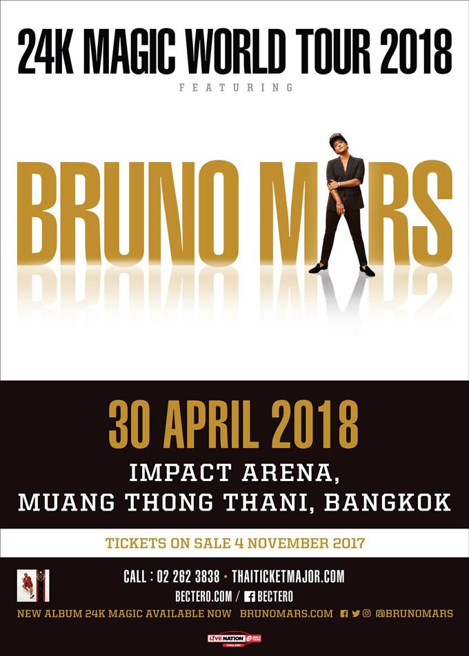 BRUNO MARS BRINGING THE 24K MAGIC WORLD TOUR TO BANGKOK