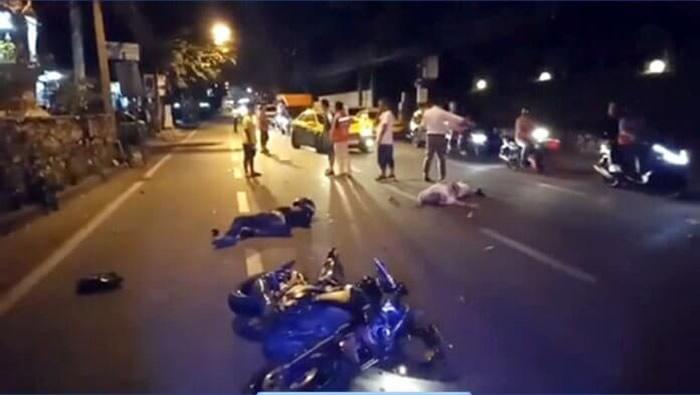パタヤで暴走バイクが外人旅行者を轢く
