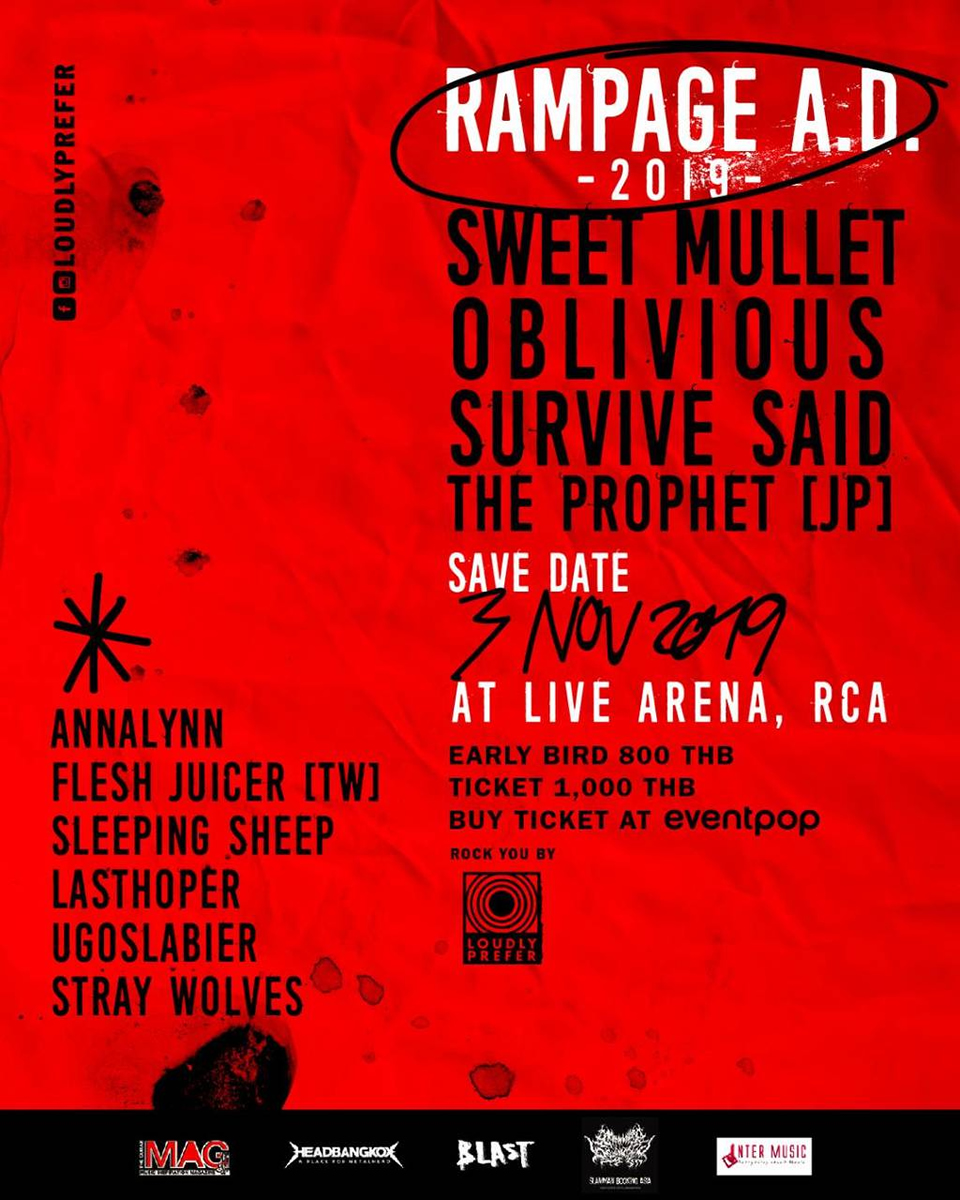 サバプロも出演のロックフェス「RAMPAGE A.D 2019」がLive RCA Bangkokで11月3日開催