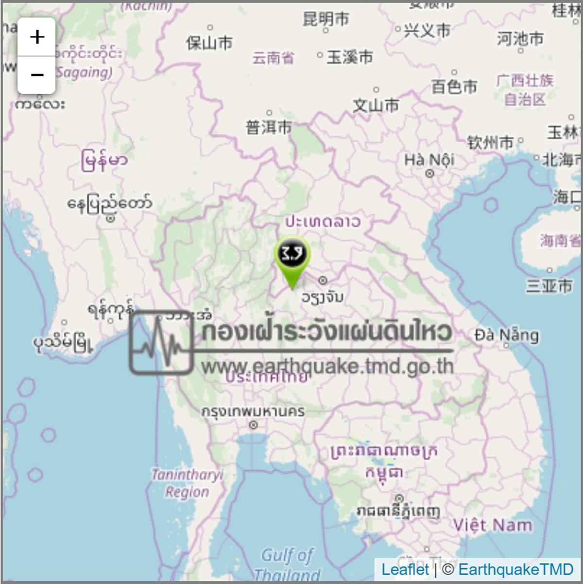 タイ北部ルーイ県でM3.9の地震