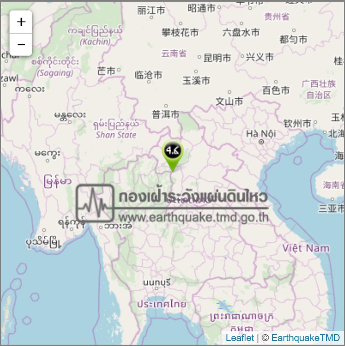 ラオス・タイ国境付近でM4.6の地震、震源の深さは3キロ