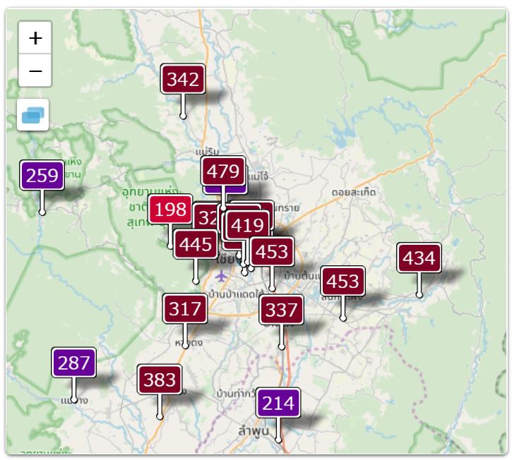 チエンマイ大気汚染:リアルタイムPM2.5大気汚染指数(AQI)