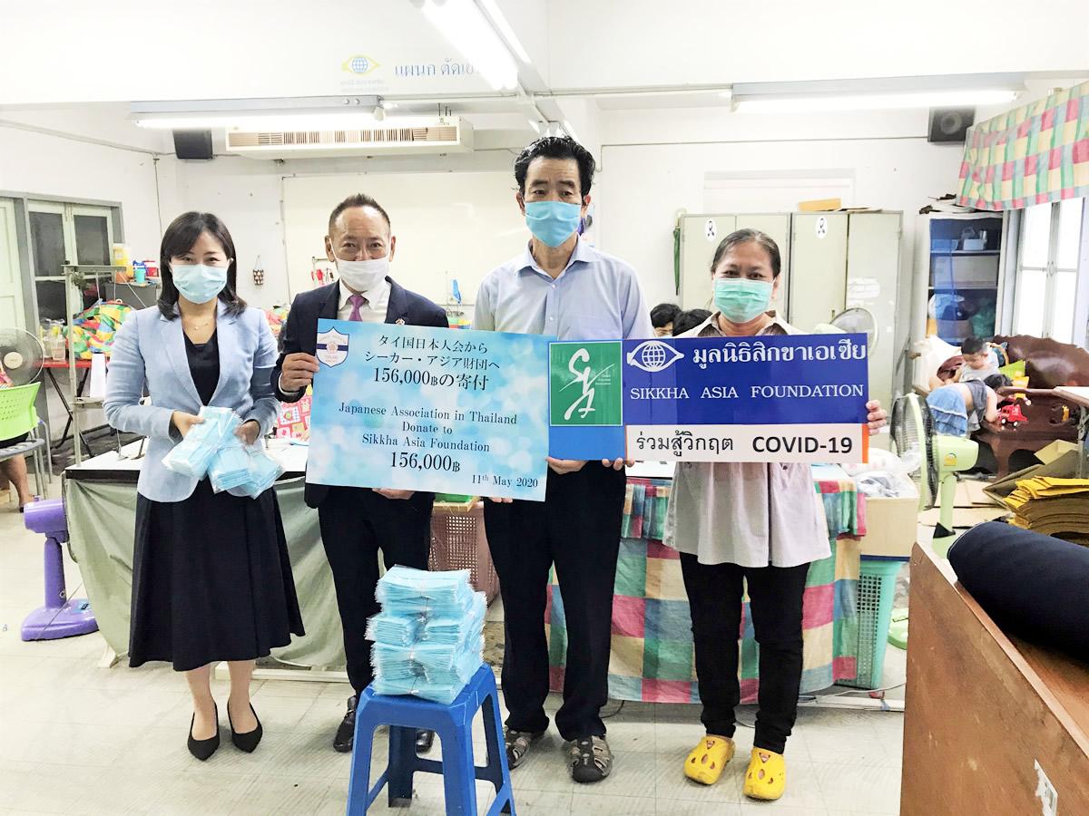 タイ国日本人会チャリティー基金より15 万バーツ相当のマスク雇用支援~クロントイ・スラム地区のマスク生産の雇用支援~