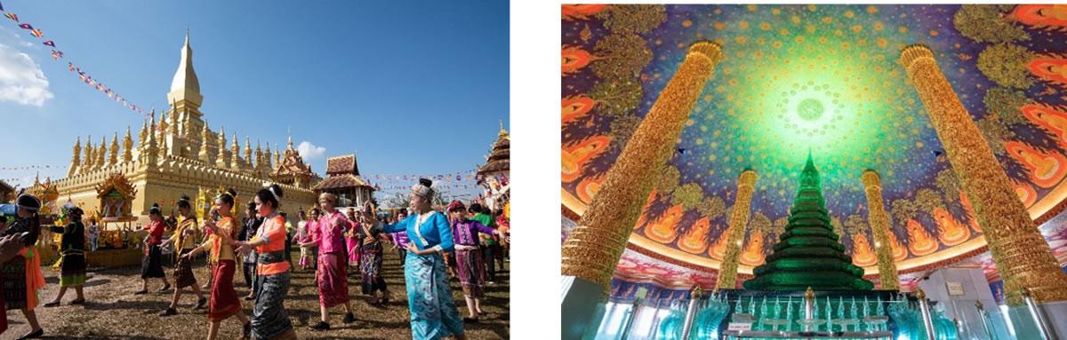 左から:タートルアン祭り(ラオス、ビエンチャン) ワット・パクナム(タイ、バンコク)