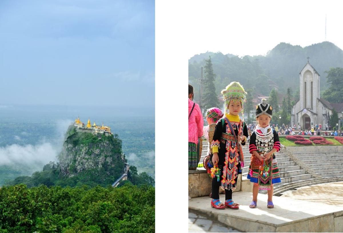 左からポッパ山(ミャンマー、マンダレー) 少数民族の少女(ベトナム、サパ)