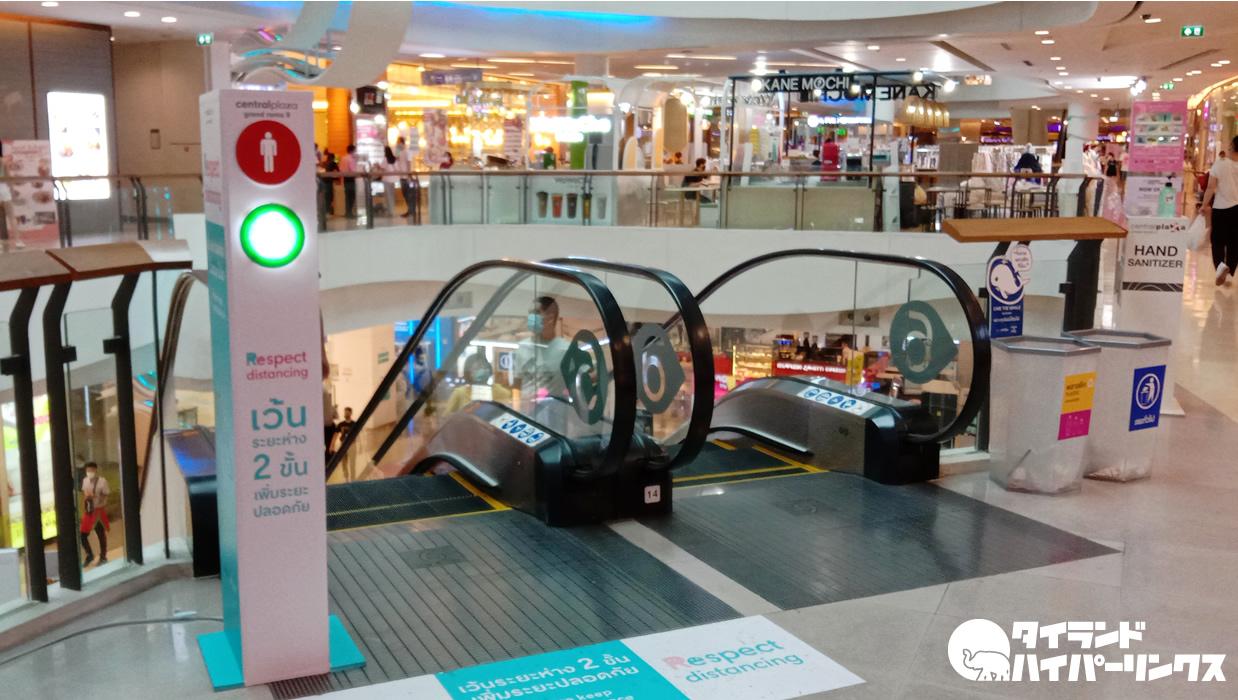 タイのショッピングセンターにはコロナ対策の信号機がある