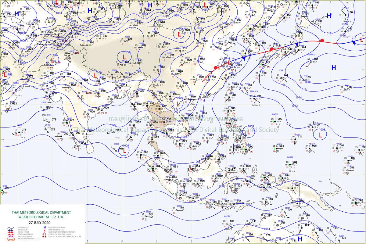 タイ気象局予報、7月28日から31日にかけて各地で大雨に注意