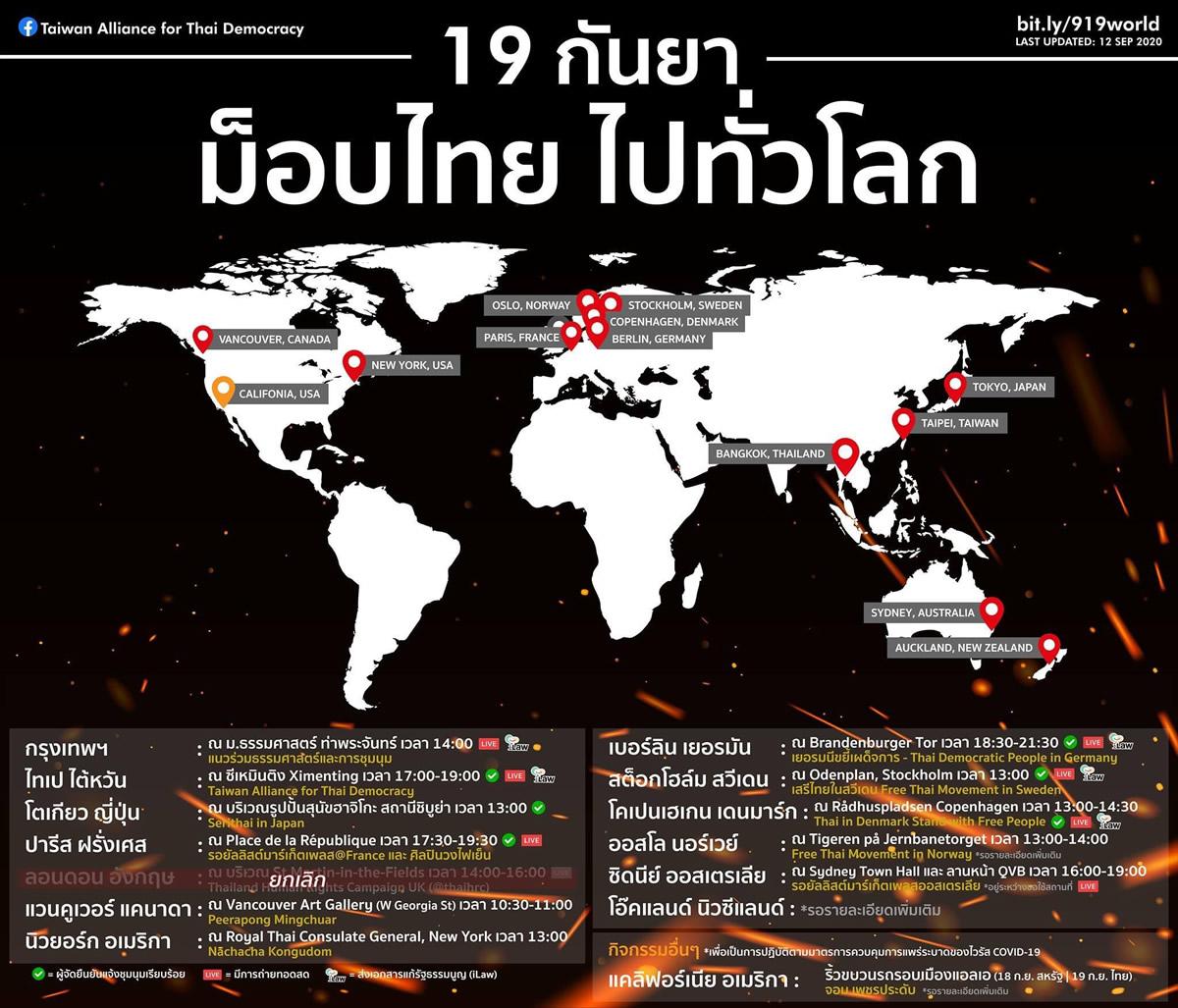 東京・ハチ公前広場で在日タイ人らが反政府集会、2020年9月19日(土)13時~