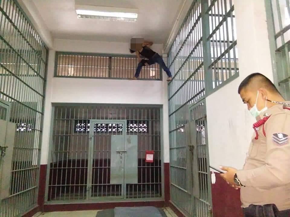 容疑者の女、警察署で天井に張り付く