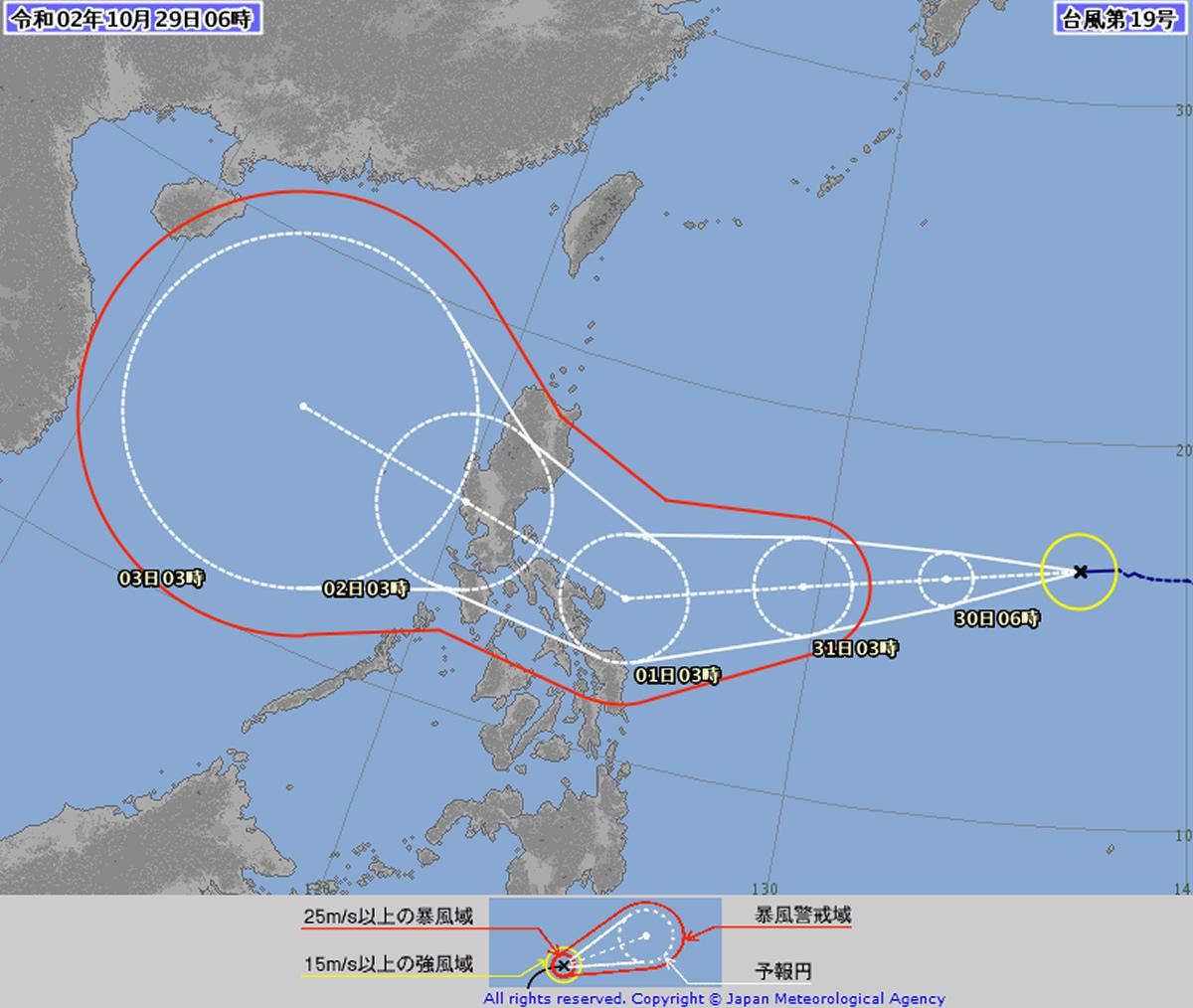 台風19号「コーニー」が発生、フィリピン東の海上から南シナ海へ