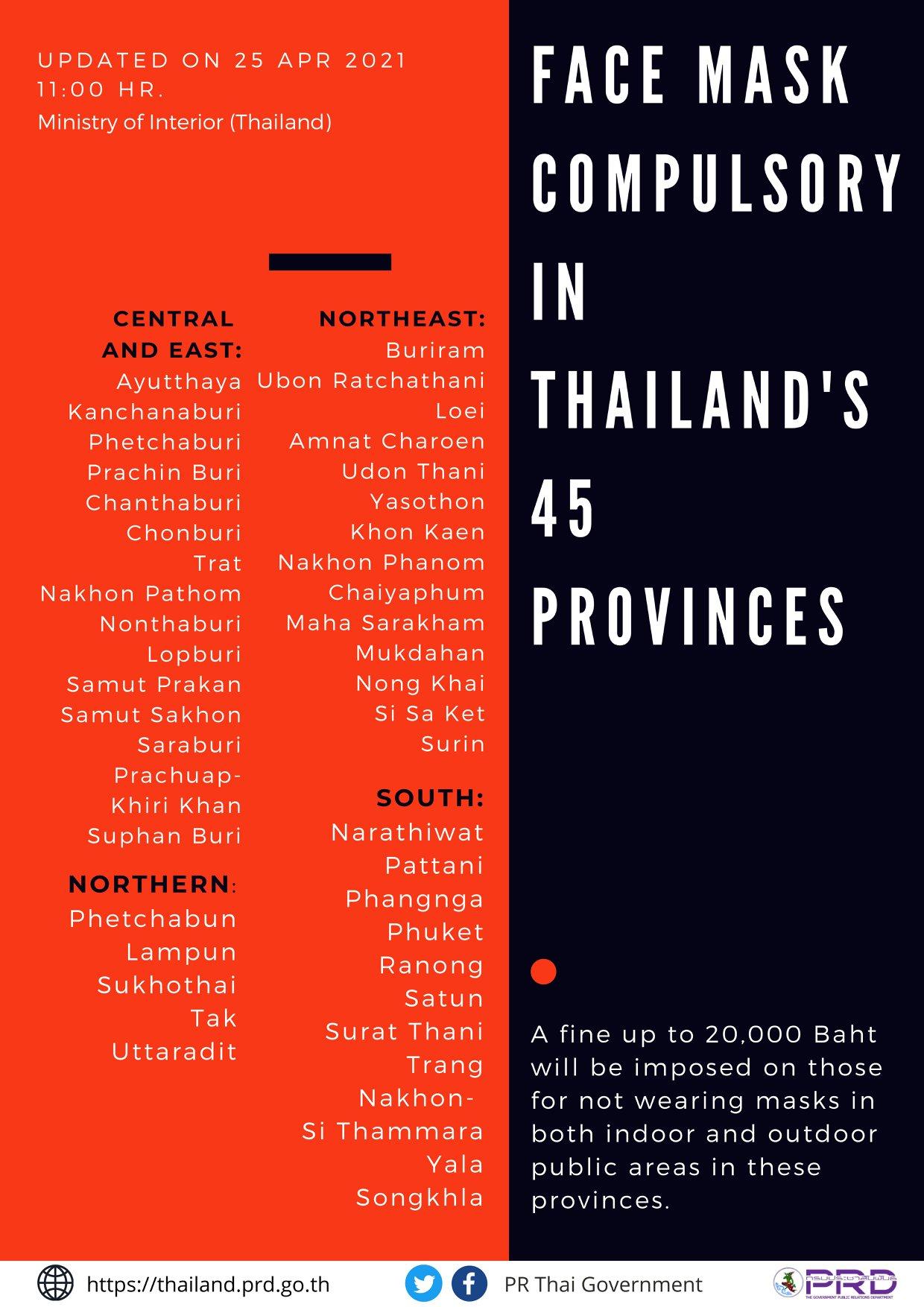 マスク着用義務は45都県に拡大~タイ内務省がリスト更新
