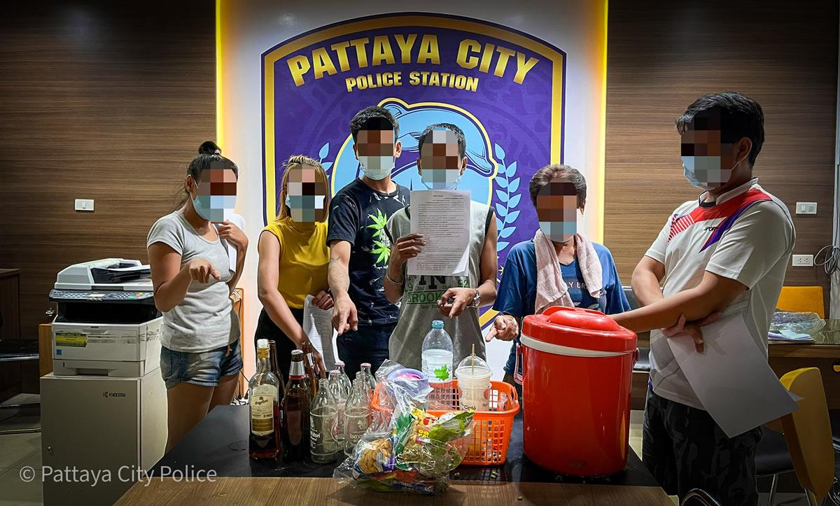 パタヤビーチで男女6人が酒を飲んでのパーティーで逮捕