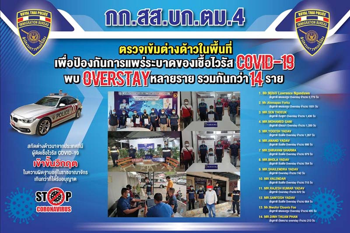 タイに不法滞在の外国人14名を逮捕、新型コロナ対策のパスポート確認で発覚