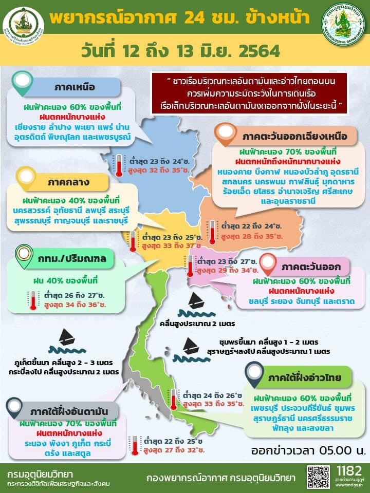 ベトナム上陸の熱帯低気圧がタイ21県の天気に影響