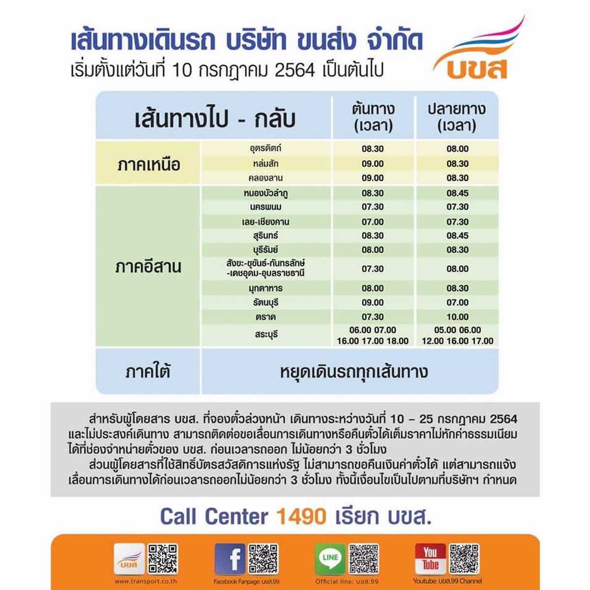 タイ長距離バス、南部は全路線運休/北部・東北部は13路線運行