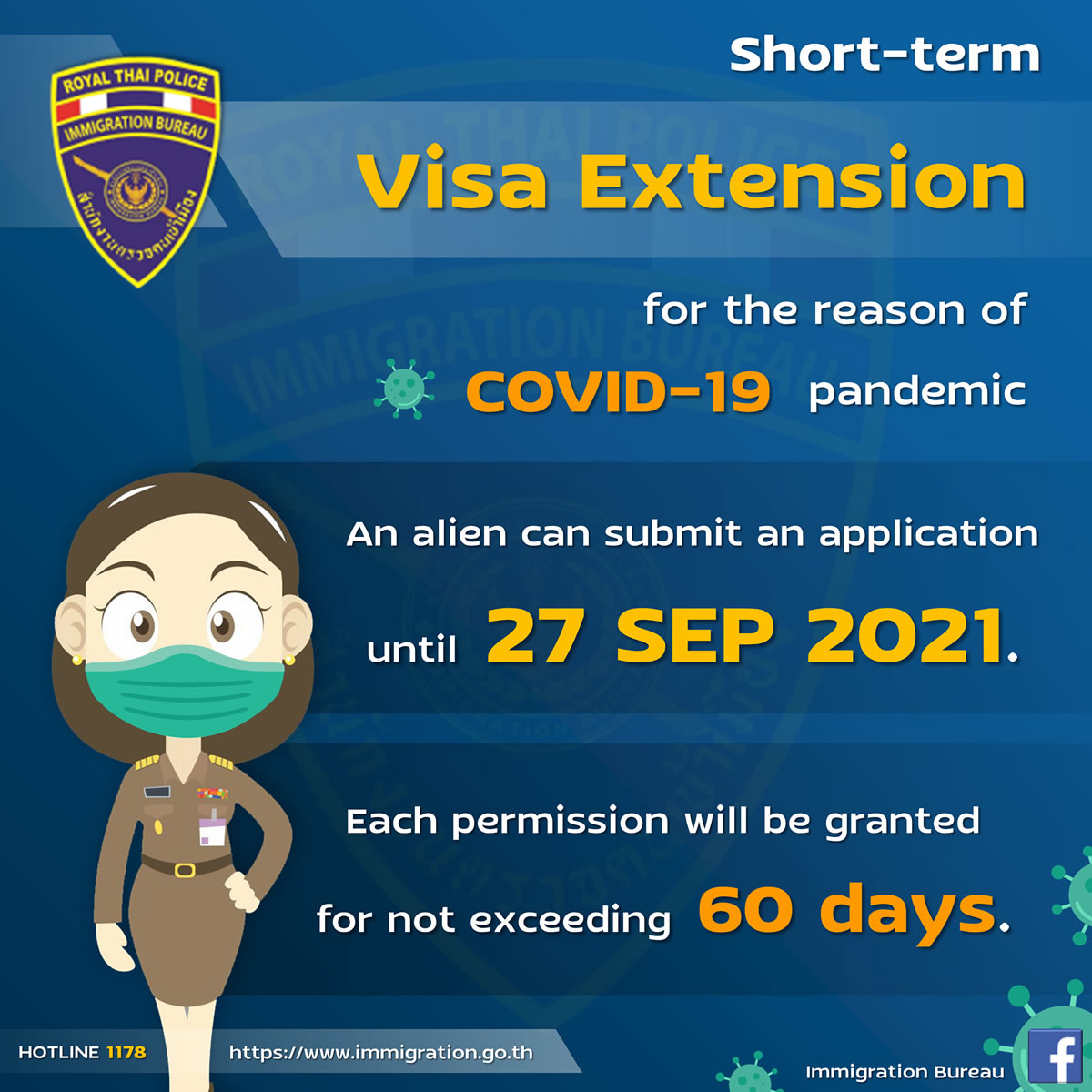 タイから帰国できない外国人は2021年9月27日まで滞在延長の手続き可