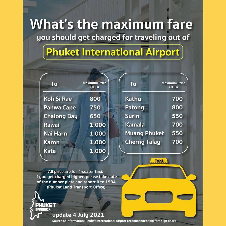 プーケットのタクシーの最大運賃、パトンビーチまでは800バーツ
