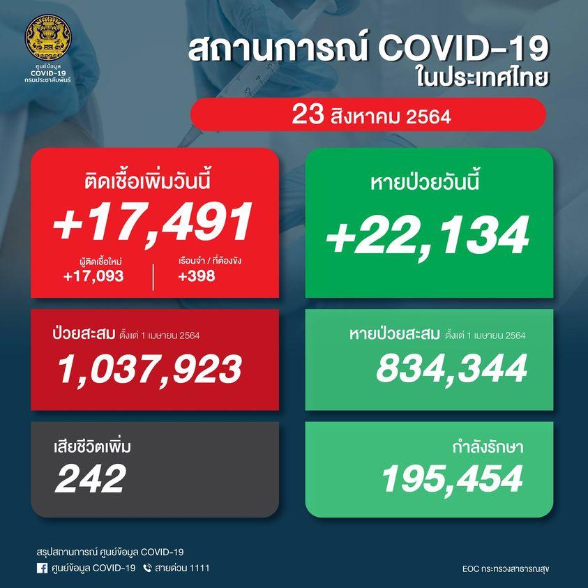 タイ 陽性17,491人/死亡242人/回復22,134人[2021/8/23]