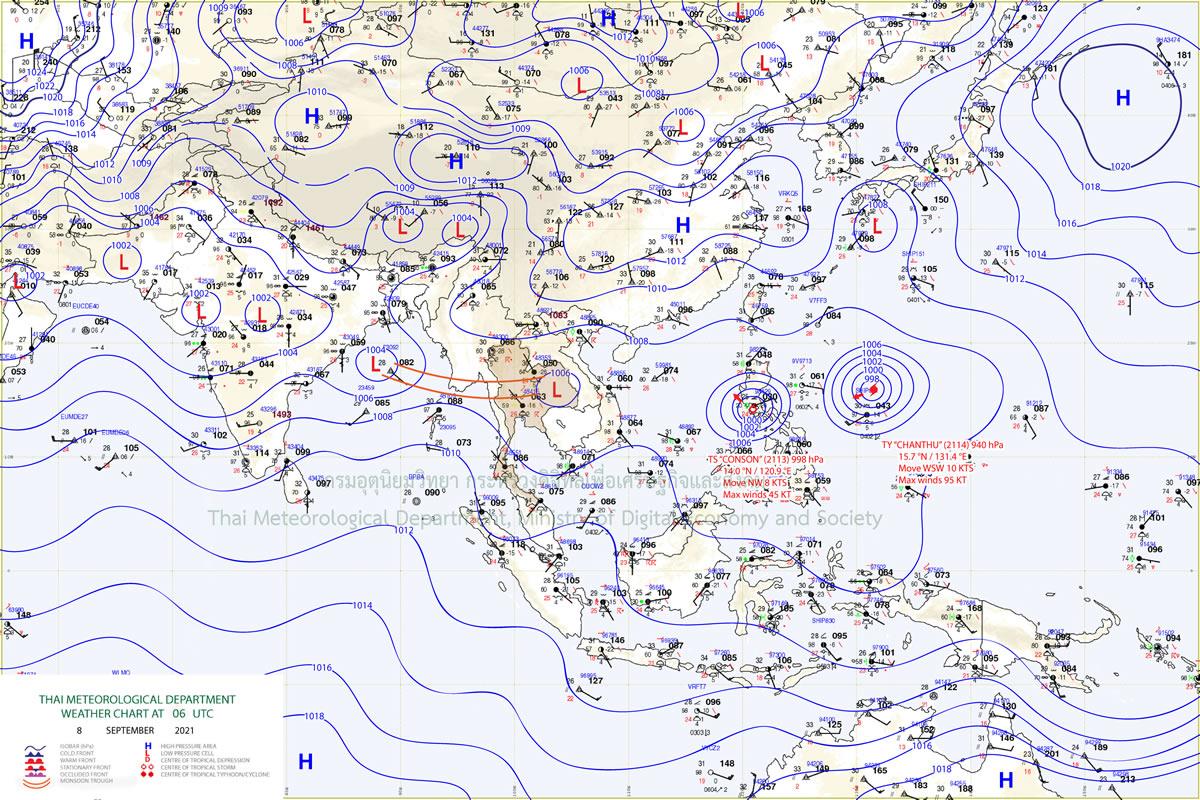 台風第13号「コンソン」の影響でタイも悪天候