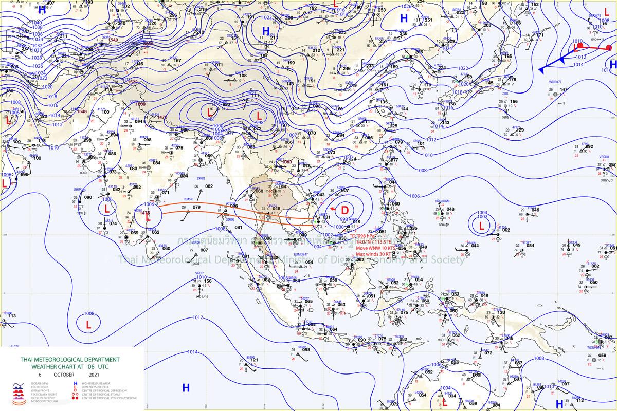 10月11日までタイ中部・南部では豪雨の予想