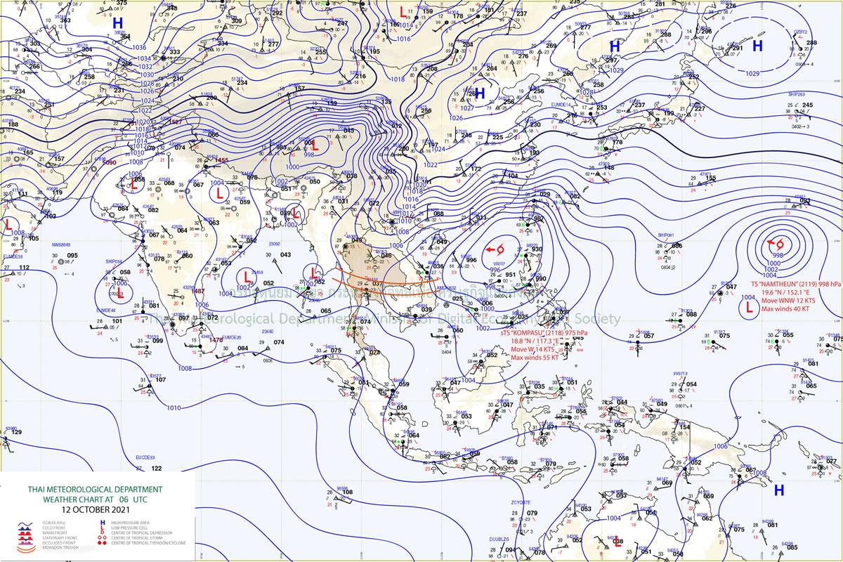 超大型の台風18号「コンパス」がタイの天候にも影響
