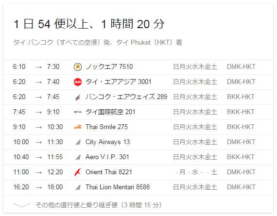バンコクからタイ各地へ飛ぶ航空会社と発着時刻のリストはありますか?