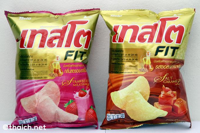 タイでも甘いポテトチップスが!「ソルトキャラメル味」と「ストロベリーミルクセーキ味」
