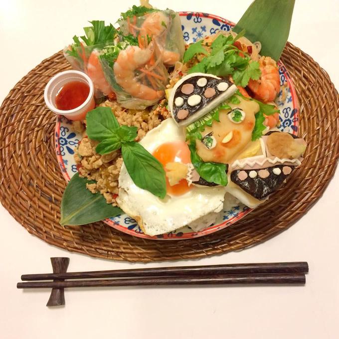 「ガパオたん」のタイ料理キャラ弁n